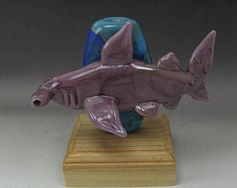 ON SALE Handmade Lampwork Glass Shark Focal Bead by Jason Powers SRA
