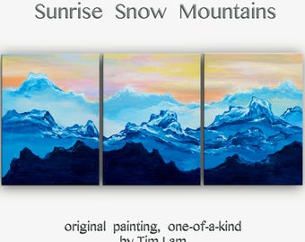 Sale Mountain skyline oil painting Mountain skyline Art black n white art on wood framed stretched linen canvas Ready to hang by tim Lam 48x