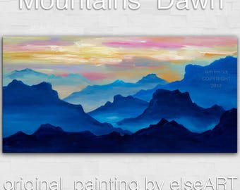 Mountain Art Landscape Painting Original Acrylic Painting by tim Lam 48x24