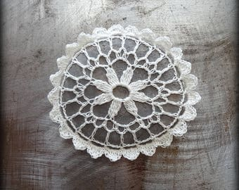 Crocheted Stone, Handmade One of a Kind Unique Decorative Doily Gift, Scalloped Edge, Bohemian, Small, Miniature Art, Flower, Collectible