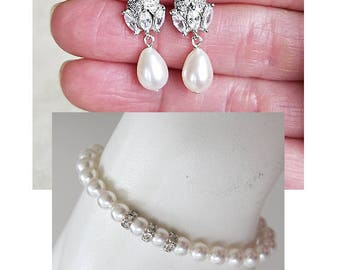 Art Deco Bridal Pearl Jewelry Set Pearl Drop Earrings Wedding Earrings Pearl Earrings Cocktail Earrings Corporate Gifts