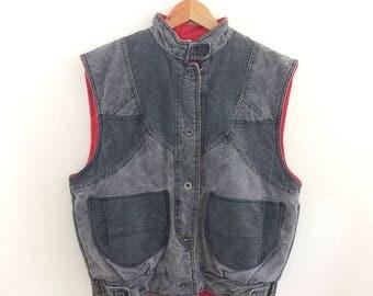 Vintage 1980s Acid Wash Denim Patchwork Puff Vest