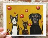Funny Animal Greeting Card - Black Lab Card - Tuxedo Cat Card - Bad Ass Circle Circle Gang - Silent Mylo Tuxedo Cat - Art Card