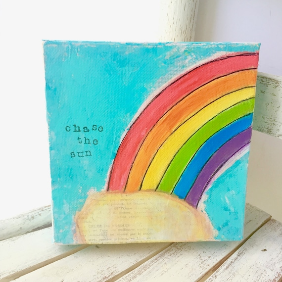 Rainbow painting. Rainbow art. Colorful Home Decor. Colorful Wall Art. Original art on canvas. Inspiration Art. Quote art. Bold Colors.