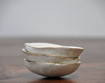 Small Sea Urchin Dish - White Gold Ring Dish Salt Dish Small Ceramic Bowl Foodie Gift Mom Gift