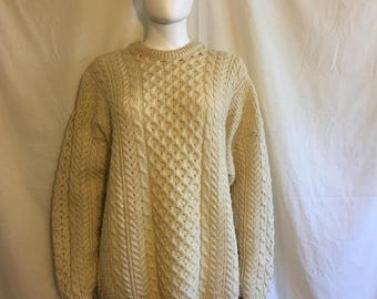 Closing Shop 40%off SALE Wool Thick Handmade Sweater, Made in Ireland sweater  size XL