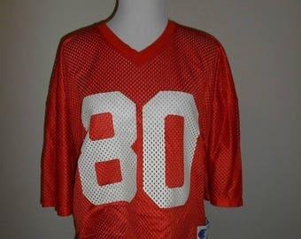 Closing Shop 40%off SALE Vintage orange Jersey   # 80                    Champion Brand     L Large   mesh football