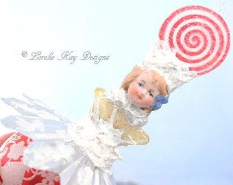 Sweet Candy Ornament Lollipop Boy Art Doll Christmas Tree Winter Theme Ornament Hanging Assemblage Art Doll