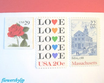 Love Massachusetts Wedding Postage, Red Rose - Love Hearts - Boston State House Stamps, Mail 20 Wedding Invitations 71 cents postage 2 ounce