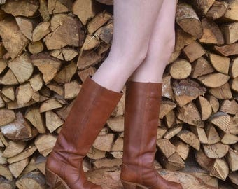 CLEARANCE Tall Leather Boots, Us 6.5, Uk 4.5, Eu 37, Tall Cowboy Boots, Brown Leather Boots, USA MADE, Womens Boots, Gift for her, Brown Wes