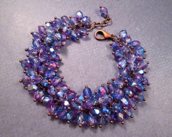 Copper Cha Cha Bracelet, Angel Wings, Purple Glass Beaded Bracelet, Wire Wrapped Charm Bracelet, FREE Shipping U.S.