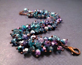 Teal Blue and Purple Glass Beaded Bracelet, By the Sea, Wire Wrapped Copper Charm Bracelet, FREE Shipping U.S.