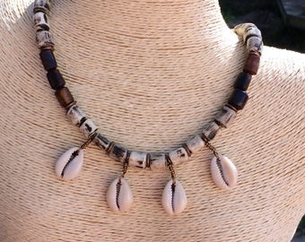Batik Bone and Cowrie Shell Bead Necklace