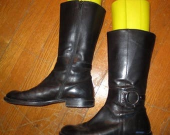 30% OFF Vintage Black Leather Harness Boots Combat 7 7.5 Made in Italy Genuine
