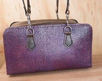 Tooled Leather Handbag with Floral Pattern - Regal in purple and antique black - Handmade womens leather shoulder bag with zipper