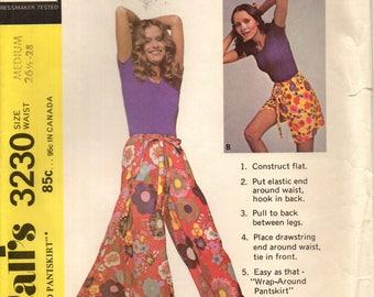 "McCall's 3230 Wrap Around Pantskirt Drawstring Waist Size 26 1/2 - 28"" VINTAGE 1970s ©1971 RETRO Wrap Pants Shorts"