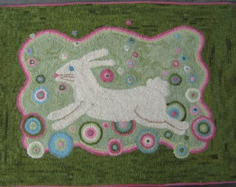 Bubble Bunny Rug Hooking PATTERN on linen