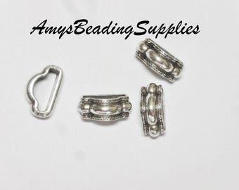 4 MINI REGALIZ® Thin Rope Stitch Spacer Antique Silver