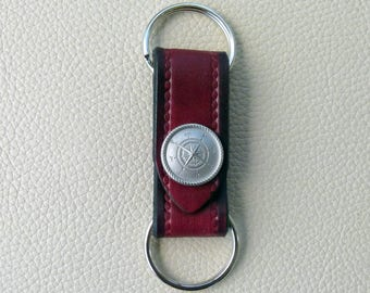 Leather Keyring with Nautical Compass,  Compass Keyring, Valet Keyring