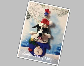 READY to SHIP! Black and White Mantle Great Dane dog Natural ears in Christmas Mitten Ornament by Sally Personalized with dog's name
