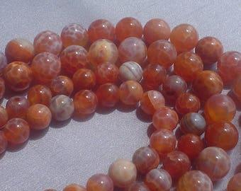 Brazilian fire agate round beads 8mm/ 9 inch natural gemstone