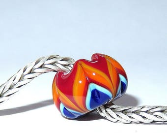 Luccicare Lampwork Bead - Rainbow IX -  Lined with Sterling Silver