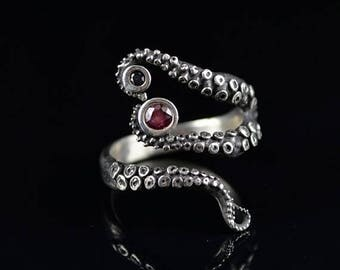 SALE SALE - Wicked Tentacle Ring with Ruby and Black Diamond, Wedding Band, Engagement Ring, Occasion