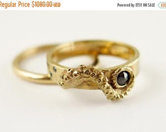 SALE Wedding Set, Stacking Rings, 14K Gold Tentacle Jewelry, Diamond, Black Diamond ring, Wedding Band, Engagement Set, Octopus Jewellery