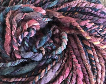 Rock On - handspun bulky two ply yarn, local cormo and suffolk wools, 44 yards, smoky jewel tones
