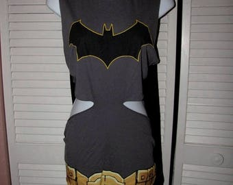 snip snip its my birthday The Joker Batman costume shredded t shirt backless tank top w removable cape one size fits most