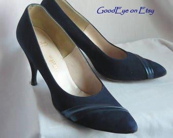 Vintage 60s Blue Suede n Leather Pumps / Size 8 .5 aa Eur 39 UK 6 / Pointy Toe Skinny High Heels / Narrow Width HANDMADE Thos Cort Ltd