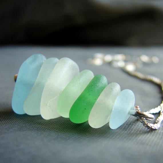 Sea Stack sea glass necklace in aqua, green and white
