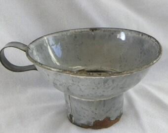 Primitive Gray Enamelware Canning Jar Funnel