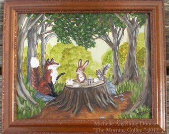 original framed woodland animal painting fantasy wall hanging children's nursery art fox rabbit squirrel wall hanging home decor