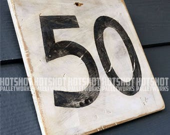 50, Fifty, Milestone age, Anniversary, Special number, Scoreboard style, Vintage-looking upcycled wood sign, hand made, hand painted