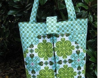 SALE pdf Sewing Pattern - Pleated Carry-All - large tote bag with lots of pockets - Instant Download