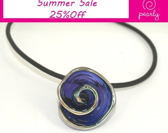 Necklace: Purple Spiral Pendant - Lampwork Jewelry - Glass Bead Jewelry - Glass Bead Necklace - Beadwork Jewery