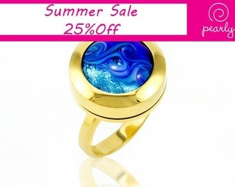 Ring - Circle Ring - Lampwork Jewelry - Glass Bead Jewelry - Interchangeable - Modern Jewelry - everyday jewelry - 18k plated gold