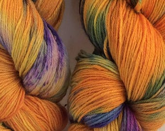 "Luxurious sock yarn 70/30 wool silk blend - ""Tropical Fruit"" - in stock ready to ship"