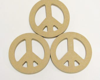 """MDF (3) Peace Love Sign Wood Bases Shapes 4"""" in Diameter Mosaic Tile Paint Beads Collage"""