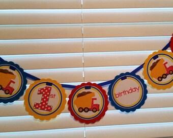 DUMP TRUCK Birthday Word Banner / Dump Truck Birthday Banner / Dump Truck Banner / Construction Banner / Dump Truck Birthday Party