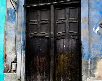 Photograph Havana Cuba door street scene black blue violet green wall decor original art door collectibles