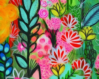 Luscious flowers art print archival print trees art print  art print garden painting tree art print flowers art print