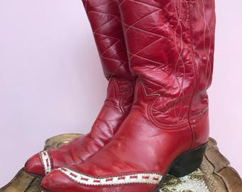 1960s boots western boot tony lama boots red boots cowboy boots size 8 1/2 vintage boots rockabilly boots