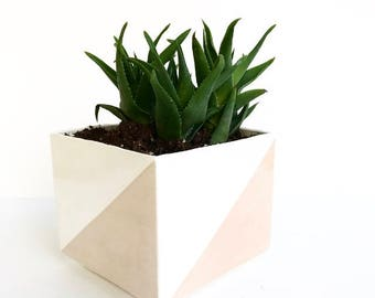 Handmade Color Blocked Square Ceramic Planter Pot
