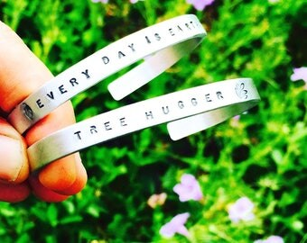 Tree Hugger Cuff Bracelet-Skinny Cuff-Every Day is Earth Day-Eco Friendly-Vegan Cuff-Vegan Gift-Vegan Bracelet-Gift-Birthday-Anniversary