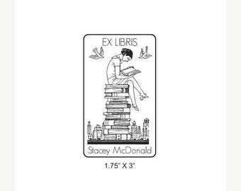 Super Summer Sale Girl Reading on a Stack of  Books Ex Libris Bookplate Rubber Stamp L04