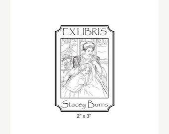 Xmas in July Young Mother Sewing by Mary Cassatt Personalized Bookplate Rubber Stamp  I14
