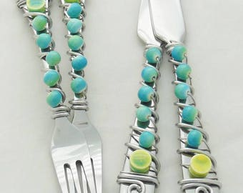 Six Piece Beaded Fork, Knife, or Spoon Appetizer Sets