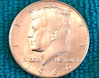 Extra Fine 1964 D Half Dollar V.G. Toned Patina SILVER KENNEDY 50 CENT Coin - 1964 Un/Bank Circulated Only  - Free Usa Shipping